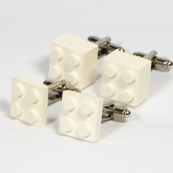 White Men's Lego Cufflinks  Wedding Day Gift
