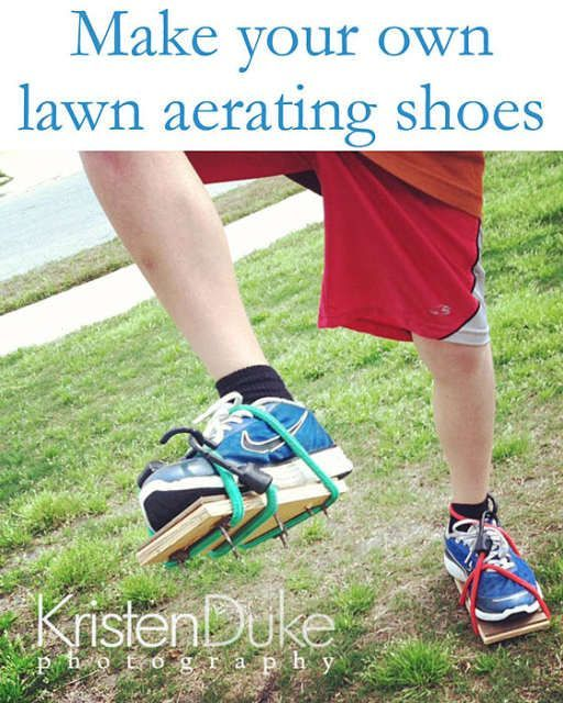 DIY: homemade lawn aerating shoes - Perfect for your yard!