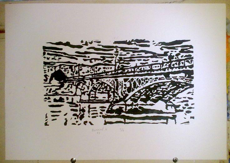 Linograbado del puente de Triana. la tarea ha consistido en realizar un grabado en una tablilla de linóleo y, posteriormente, plasmarlo en un A3. Me ha parecido interesante todo lo aprendido del grabado y, opino que puede ser interesante para nuestro futuro artístico.