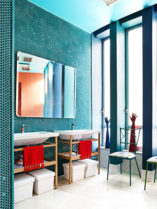 17 best ideas about complimentary colors on pinterest for Blue and orange bathroom