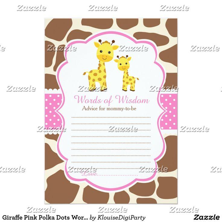 Giraffe Pink Polka Dots Words of Wisdom Card