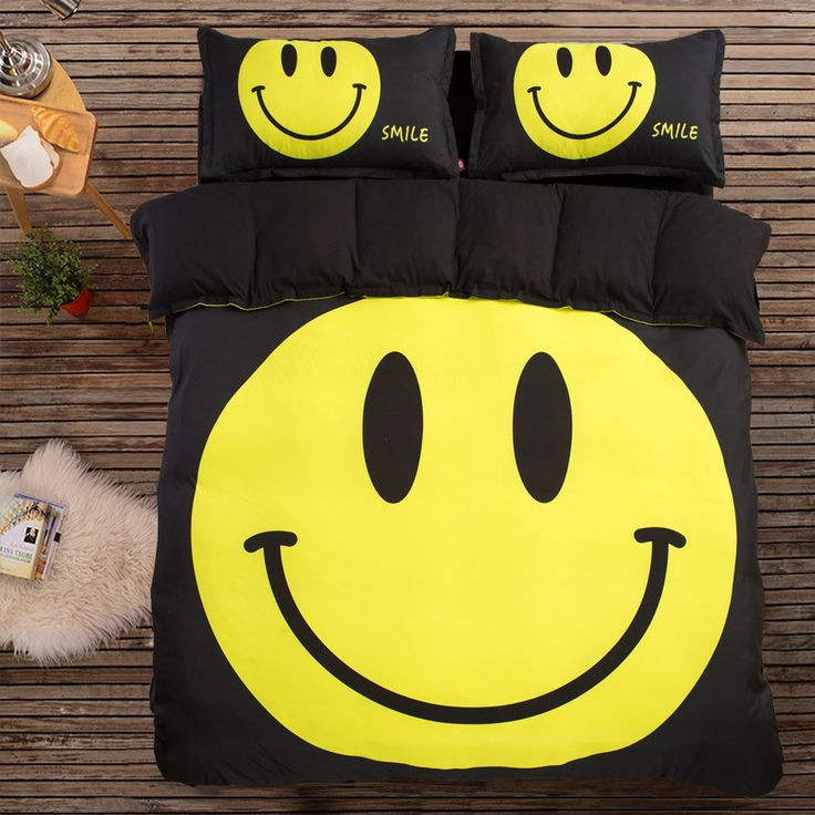 Black halloween emoji smile bedding sets king queen twin size for kids boys Duvet cover sets Fitsheet Pillowcases For Chistmas //Price: $41.80 & FREE Shipping //     #hashtag4