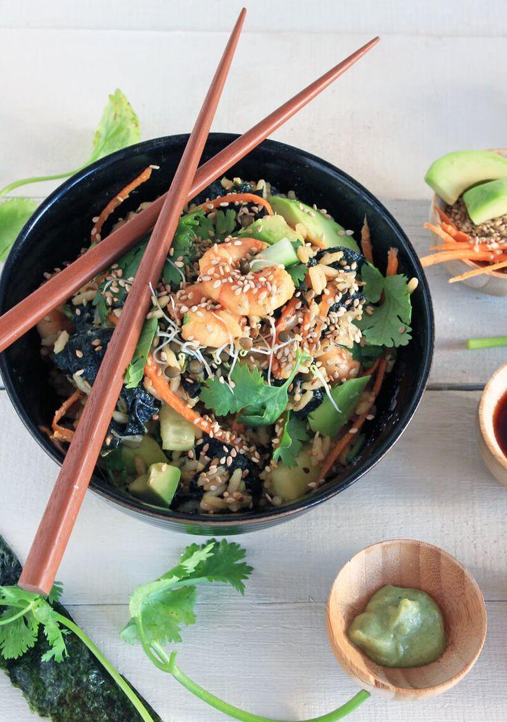 Sushi Salat mit Garnelen