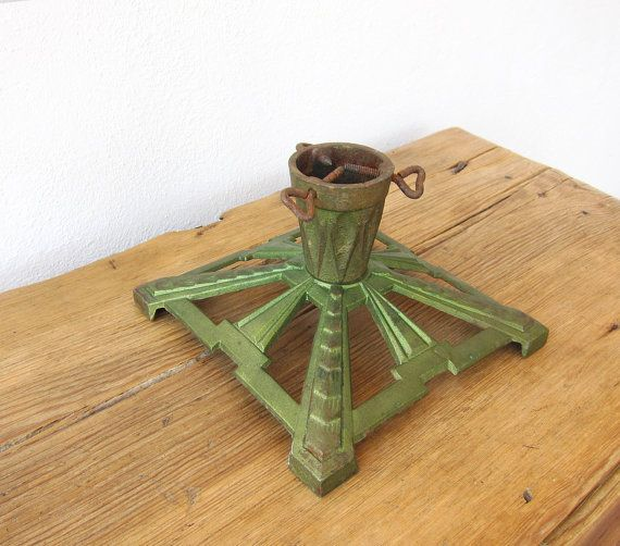 Antique Christmas Tree Stand / Rare 1930-1950s Cast iron Christmas Tree Base / Art Deco  Christmas Gift
