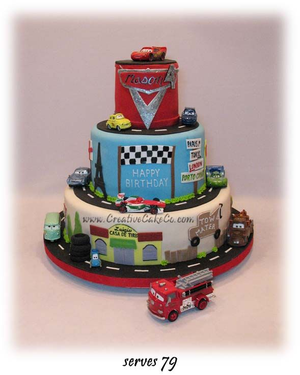 Cars2 themed 3 tier cake