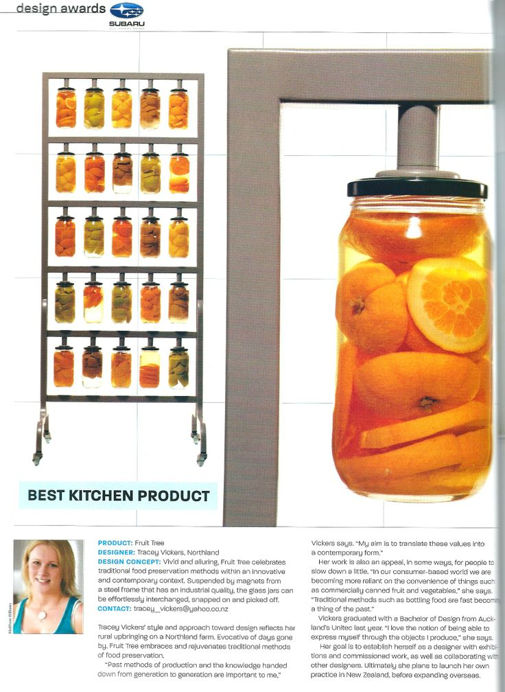 Fruit Tree Home & Entertaining Design Awards 2006 Best Kitchen Product Utilizing the power of magnets pick your preserves straight off the tree!
