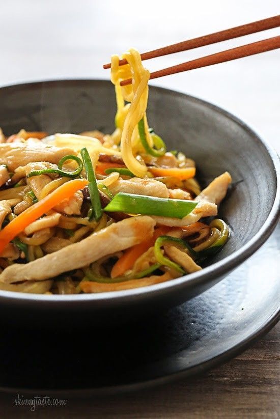 This faux lo mein dish is made with zoodles (zucchini noodles) in place of noodles and the results are DELISH (and bonus under 300 calories)! Each bowl is loaded with chicken and vegetables in a savory sauce. If you want to make this meatless, tofu would also be great in this dish. Start to finish this takes about 20 minutes to make... quicker than waiting for your take-out to get delivered!     To make the zoodles you can use a vegetable spiralizer such as the Paderno Spiral…