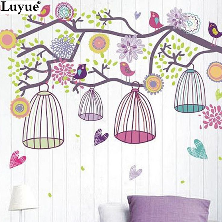 Luyue Artificial Plant Store DIY Colorful bird cage Bohemia 90*60cm ZOO For Kids Baby Room Wall Sticker Paper Decor Decal