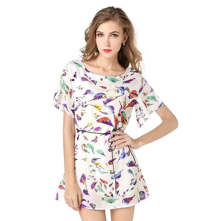 2016 New Women Vestidos Casual Summer Betwing Sleeve  Bird Print Chiffon Loose Dress Big Size S/M/LXL/XXL Hot Sale
