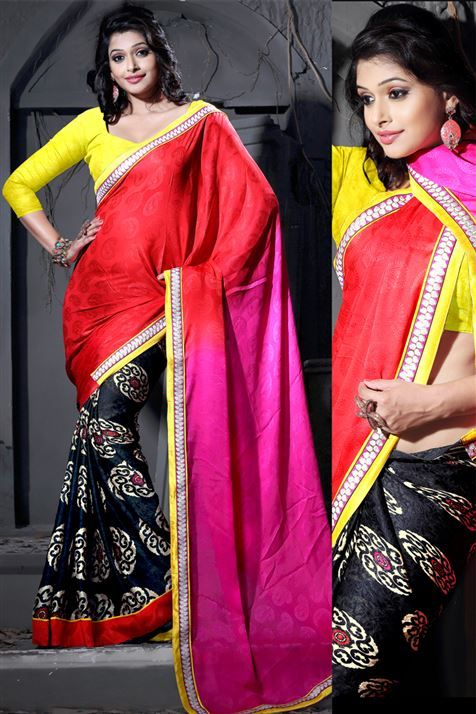 Stylish Red, Black, Deep Pink Jacquard Half Half Printed Saree with Lace Border