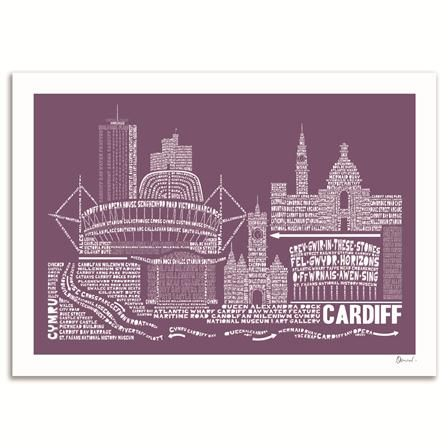 SP Design -CardiffSkyline Typography Print, Frosted Berry, 50x70cm