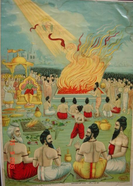 "A frame from the epic Mahabharata telling the event of a huge ""snake-sacrifice"" by the king Janamejaya. The boy in red is the ""Messiah"" of the nāgas, Astika, sage child of serpent goddess Manasa (sister of Vasuki), who stops the genocide of his people.:"