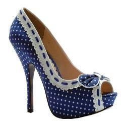 Women's Bettie Page Gwendolyn Blue/White | Overstock.com Shopping - The Best Deals on Slip-ons