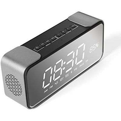 Wireless Clock Radios Bluetooth Speaker With Alarm, Portable Stereo Speaker, LED