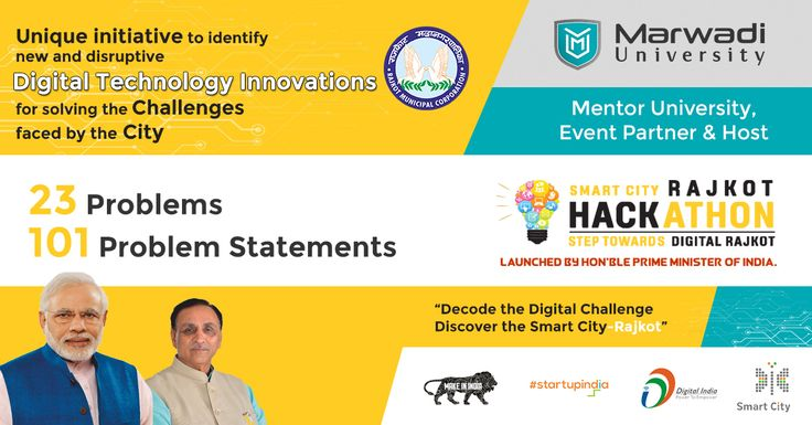 """The unique initiative to identify new and disruptive Digital Technology Innovations for solving the challenges faced by the City!!  23 Problems  101 Problem Statements.  Marwadi University is Mentor University for India's 1st City Hackathon.  """"Decode the Digital Challenge Discover the Smart City-Rajkot"""" A Step Towards Digital Rajkot.  #Hackathon2017 #SmartCity #SmartRajkot #DigitalRajkot #MarwadiUniversity #MUstExperience #DiscoverYou #Rajkot"""