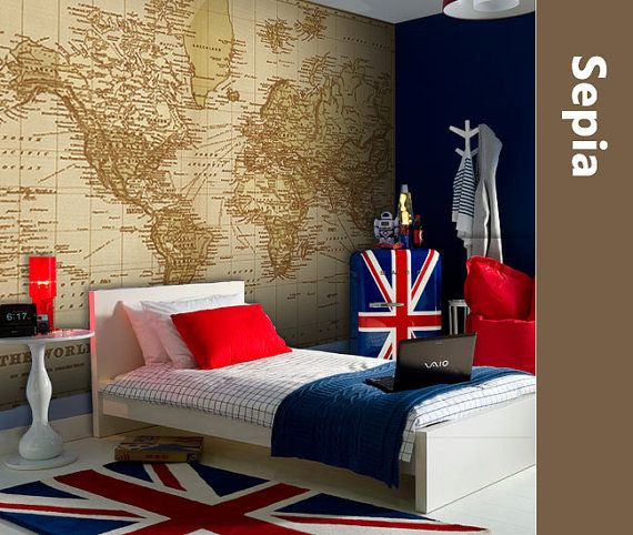 WORLD MAP Atlas Wall Decal Poster Mural Decal Sticker Wall Vinyl or Fabric Geography Wallpaper Vintage Map Decor 010