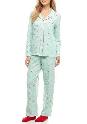 Karen Neuburger Cardinal Mint Petite Knit Pajama Set with Socks