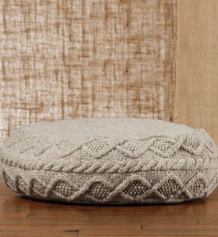 Hand knit sweater poufs home ottomans and pillows for Floor knitting