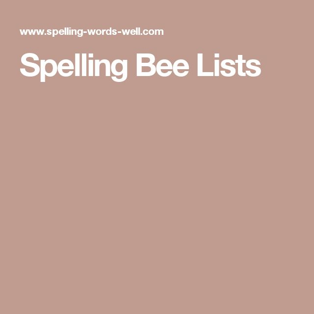Spelling Bee Lists