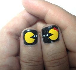 Cute decorative Pac Man nail art decals by PinkTreeDesign