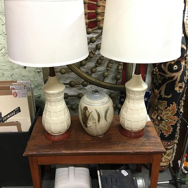 """These lamps look like peanuts. Perfect for your peanuts. Ceramics are a great and easy way to add texture and interest to a room that's """"lacking"""".  .  #midcentury #lighting #lamps #ceramics #art #modcenturymodern #mcm @highlandrowantiques #piano #antique #pottery #biggest #bigger #sizequeen #architecturalsalvage #architecture #design #decor #interiordesign #atl #atlanta"""