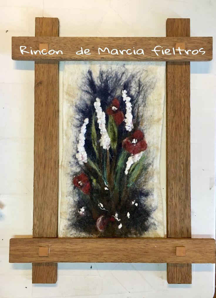 Acuarela en fieltro flores