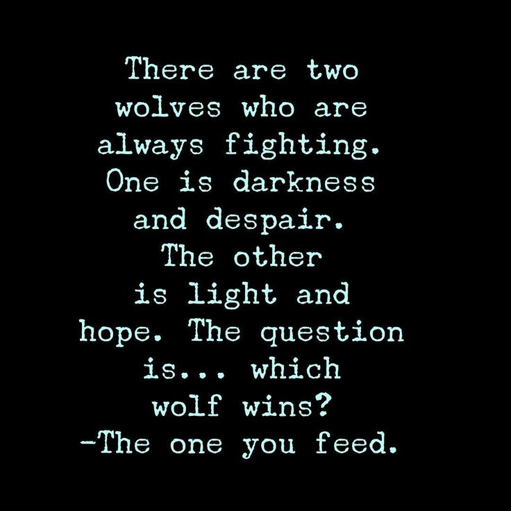 """There are two wolves who are always fighting. One is darkness and despair. The other is light and hope. The question is... which wolf wins? --- The one…"""