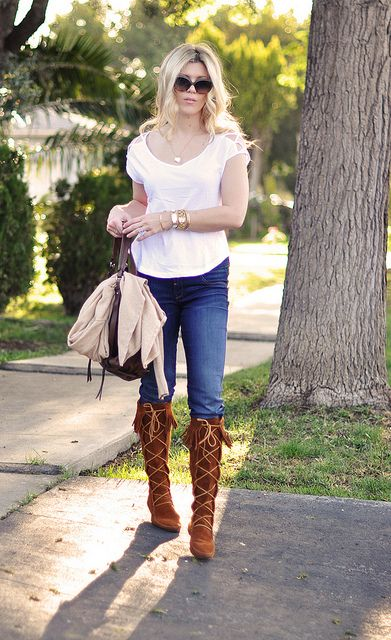 jeans- t shirt-suede Minnetonka Moccasin fringe boots by ...love Maegan, via Flickr