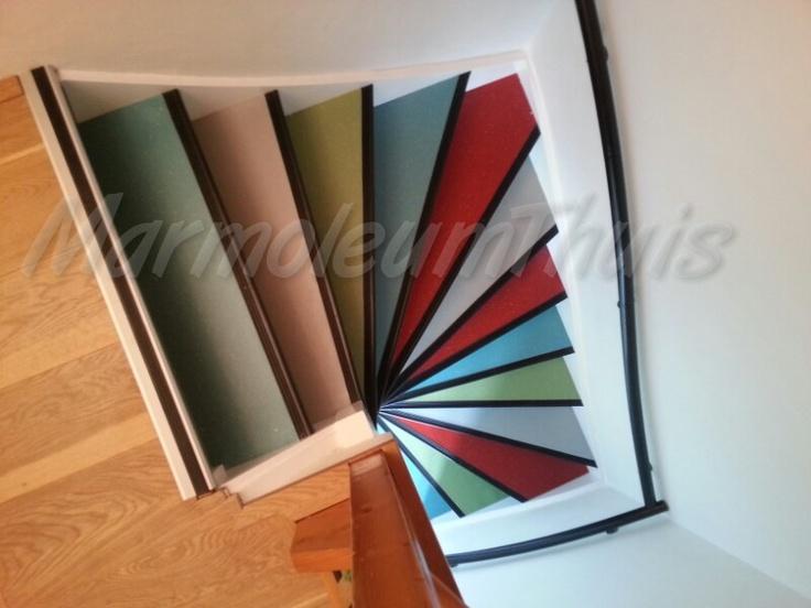 4 kleuren marmoleum trap