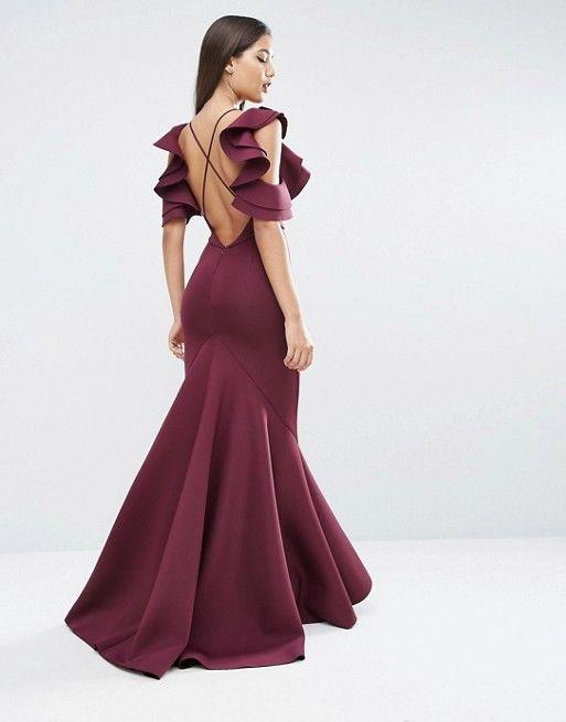 ASOS | ASOS RED CARPET Scuba Ruffle Extreme Fishtail Maxi Dress