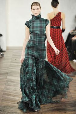 Ralph Lauren jade tartan dress