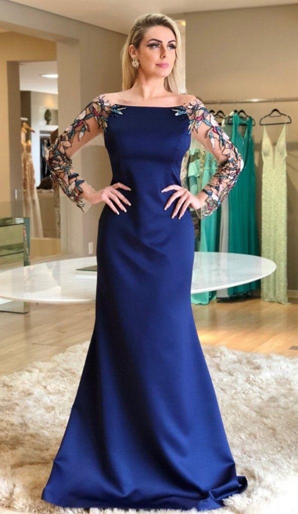 vestido de festa longo azul marinho com manga longa  533c6a50f1d2