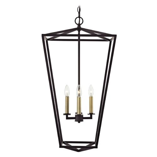 Lantern Pendant Light 4 Lt 33 Inch Tall Bronze And Brass