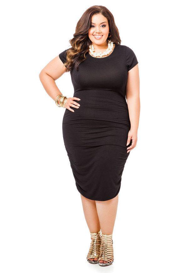 Ruched Side Tee Shirt Dress, $39.50, Ashley Stewart   Community Post: 27 Fabulous Plus Size Little Black Dresses Under $50