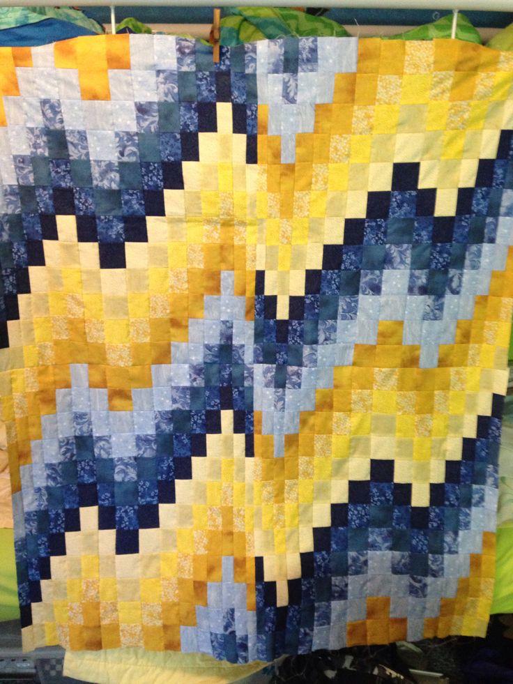 Bargello quilt top... blue, yellow, white ...