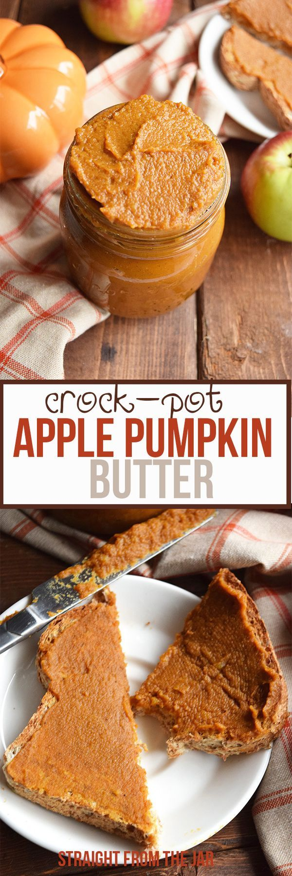 Pull out the crock-pot and whip up a batch of this delicious Crock-Pot Apple Pumpkin Butter. The perfect fall topping to spread on toast, crackers or to eat straight from the jar with a spoon!