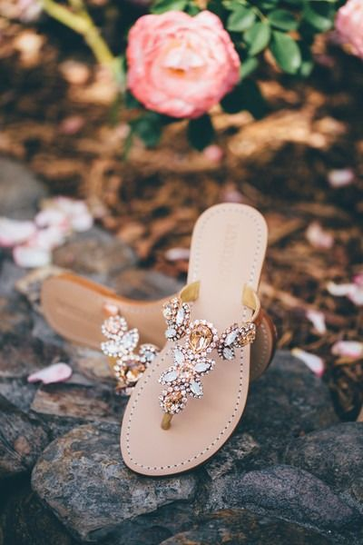 Wedding sandals for bride - jeweled sandals {Bryan Sargent Photography}