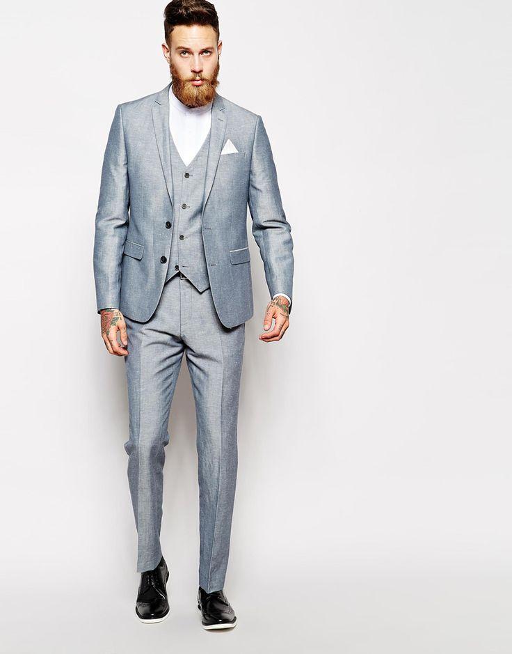 Image 1 ofASOS Slim Fit Blue Suit In Linen
