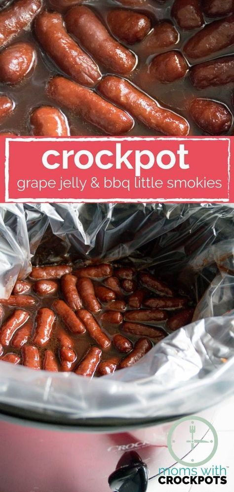 A slow cooker classic! Get this Crockpot Grape Jelly & BBQ Little Smokies Recipe! It's a keeper! Perfect for game day or any day!