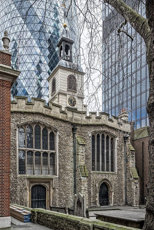 City of London: St Helen Bishopsgate, 13th-15th centuries. One of the best things about London..the mixture of old and new.