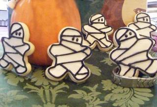 Mummy cookies, using gingerbread cutter.