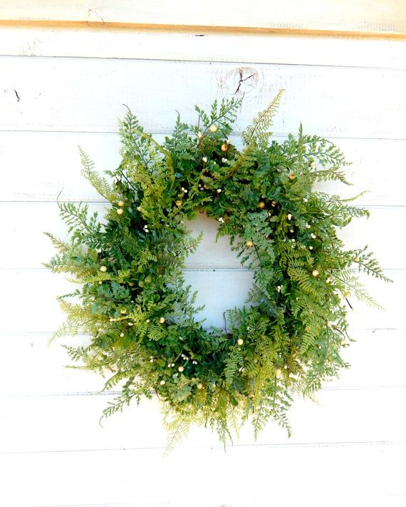 SUMMER FERN & BOXWOOD Door WreathArtificial by WildRidgeDesign, $59.00