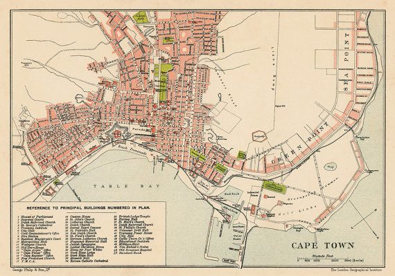 Cape Town map Old map of Cape Town print Fine by AncientShades
