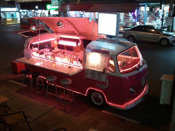 Mobile bar in Bangkok. Pop-up bar. Looks like a simple option for serving alcoholic  drinks, coffees, anything! popuprepublic.com