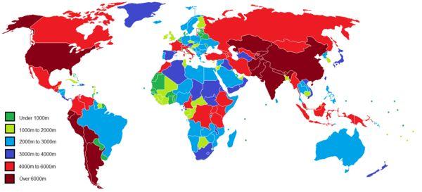 外国人「最高標高地点が1000m以下の国があるらしい」 標高別に世界を区分けした地図が話題