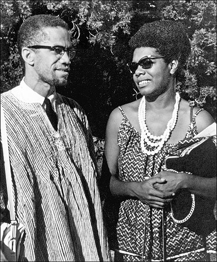 Maya Angelou with Malcolm X in Ghana, West Africa in 1964./ WOW!  I'VE NEVER SEEN MAYA SO YOUNG!