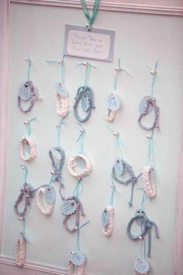 Beach Wedding Ideas: sailors knots escort cards