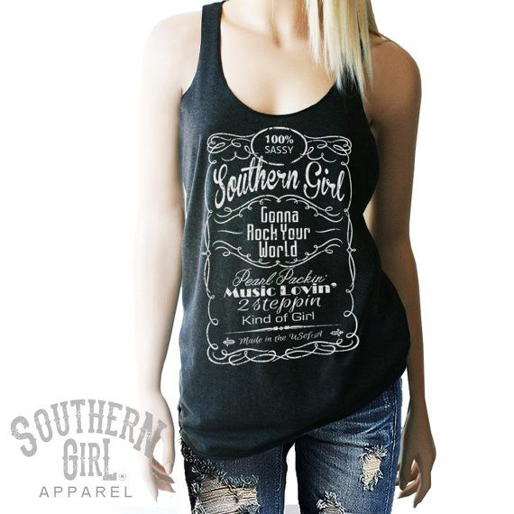 Jack Daniels style Tank. Sassy Southern by SouthernGirlApparel