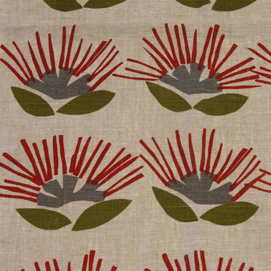 Fabric 'Pohutukawa on linen' by Ingrid Anderson (NZ). We make curtains, cushions, covers etc.