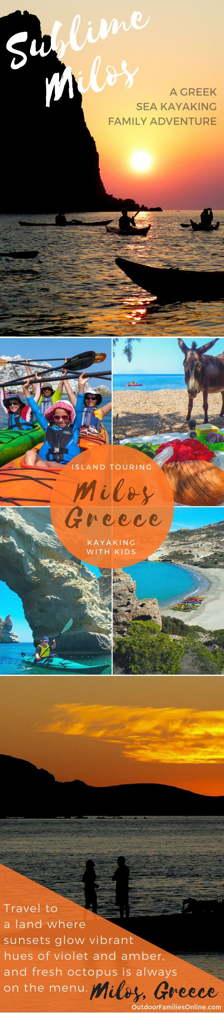 Travel to a land where sunsets glow vibrant hues of violet and amber, and fresh octopus is always on the menu; a sea kayaking adventure to Milos, Greece.